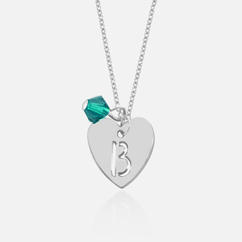 Small Heart Necklace Personalized With Initial And Slide In Swarovski Birthstone