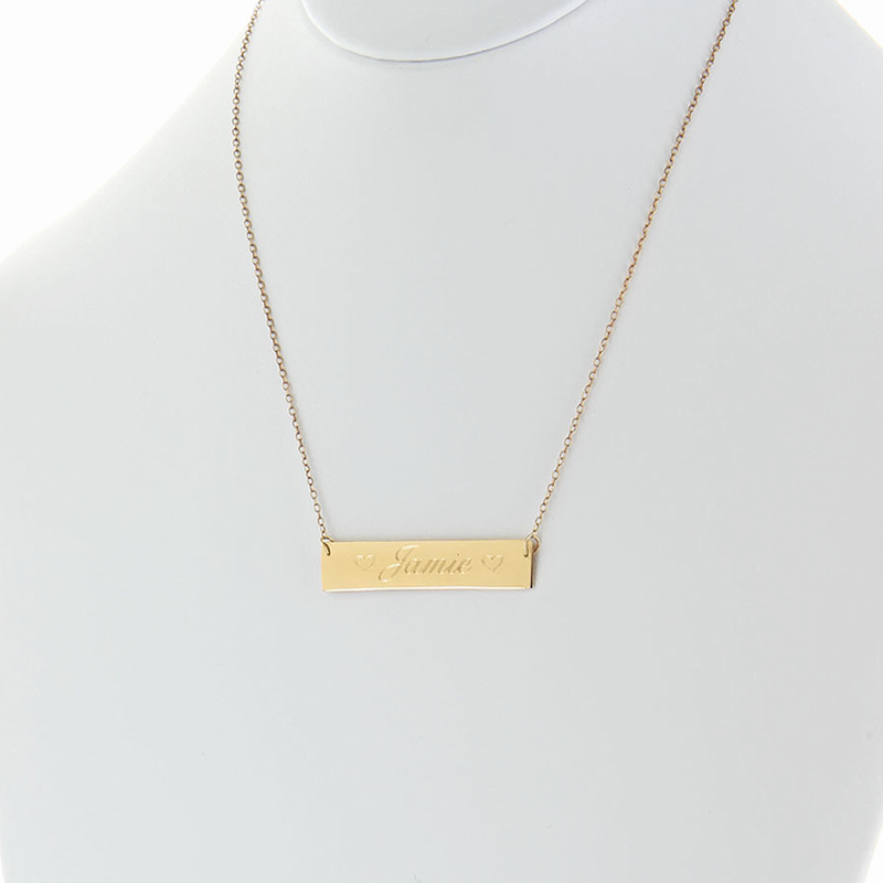 solid gold nameplate necklace name with two hearts