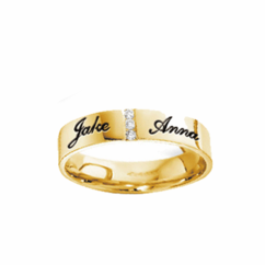 Stainless Steel Gold Tone Band with CZ's for Him or Her
