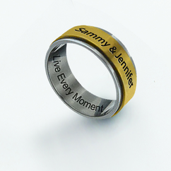 Stainless Steel Gold Tone Spinner Ring