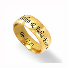 Stainless Steel Gold Tone Wedding Band for Him or Her