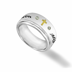Stainless Steel Spinner Ring with CZ stones and Cross for Him or Her