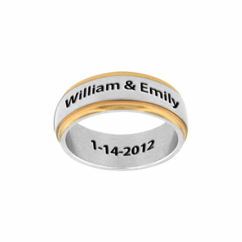 Stainless Steel Two Tone Band for Him or Her