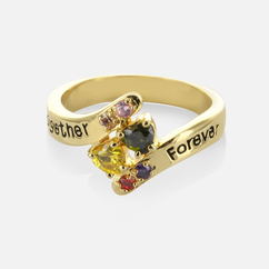 Sterling Silver Adam & Eve Family Ring Personalized with Birthstones