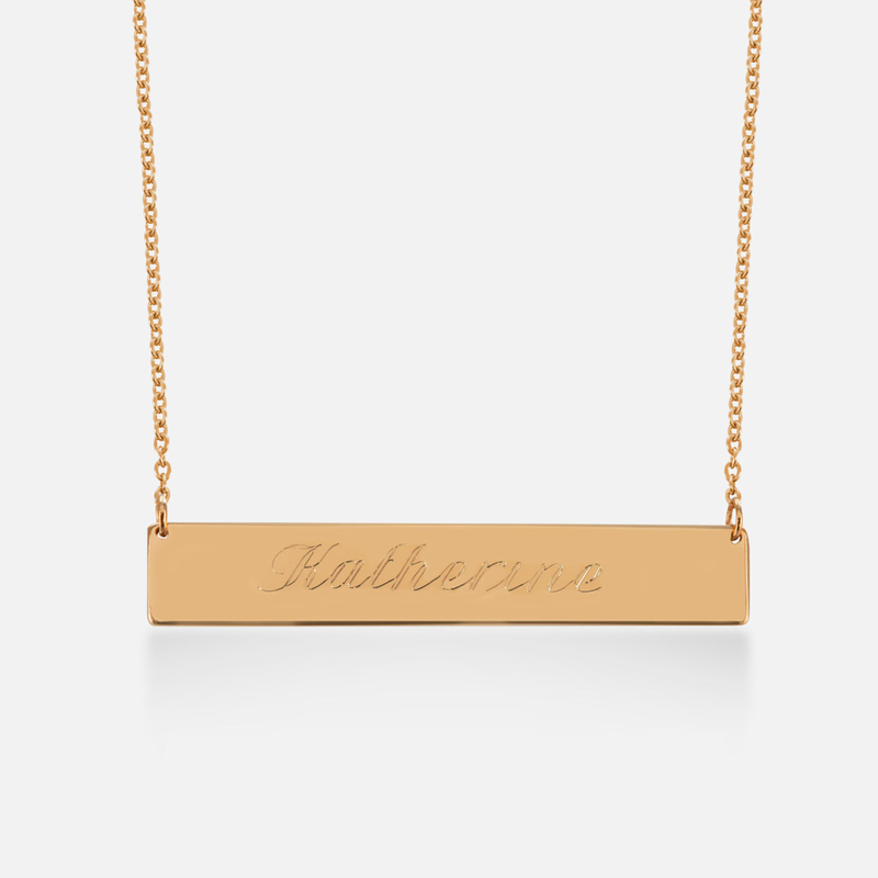 sterling silver bar necklace name engraved in script