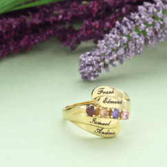 Sterling Silver Family Ring with Birthstones & Engraving