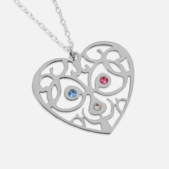 Sterling Silver Heart Necklace Personalized with Swarovski Birthstones