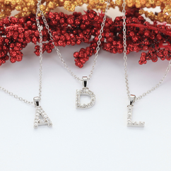 Sterling Silver Initial necklace with CZ stones