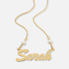 Sterling Silver Name Necklace with Pearls