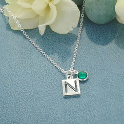 Necklace Personalized with Cut Out Initial Pendant