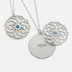 Sterling Silver Necklace Personalized with Name and Swarovski Birthstone