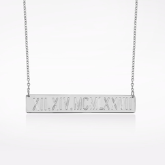 Sterling Silver Roman Numbers Engraved Bar Necklace