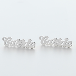 Stud Name Earrings in Sterling Silver