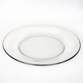 10 Inch Round Clear Glass Dinner Plate - Set of 12