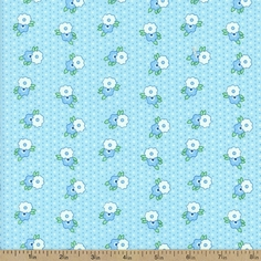 1930's Classics Medium Floral Cotton Fabric - Blue