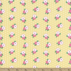 1930's Classics Medium Floral Cotton Fabric - Yellow