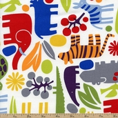2D Zoo Packed Animals Cotton Fabric - Multi 6218-IR