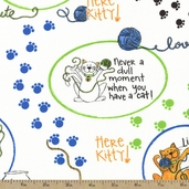 A Cat's Life Vignettes Cotton Fabric - White