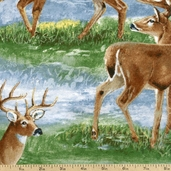 A Change Of Scenery Deer Collage Flannel Cotton Fabric - Multi 1848-63002-427