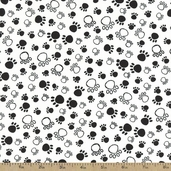 A Dog's Life Paw Print Cotton Fabric - White