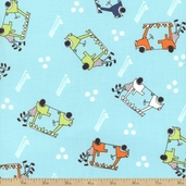 A Hole In One Golf Cart Cotton Fabric - Aqua