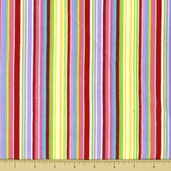 A is For Alligator Cotton Flannel Fabric - Stripe - Pink