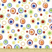 A is For Alligator Cotton Flannel Fabric - Wacky Dots - Multi