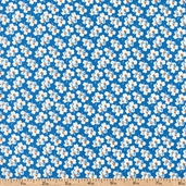 A is For... Small Flower Cotton Fabric - Blue