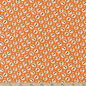 A is For... Small Flower Cotton Fabric - Orange
