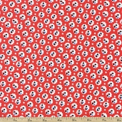 A is For... Small Flower Cotton Fabric - Red