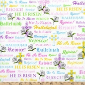 A Joyful Easter Crosses & Religious Words Cotton Fabric - White