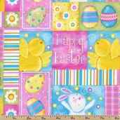 A Joyful Easter Happy Easter Patch Cotton Fabric - Multi
