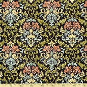 A Ladies' Diary Damask Cotton Fabric - Black 1825-85549-934W
