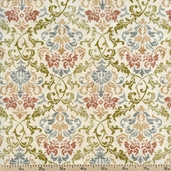 A Ladies' Diary Damask Cotton Fabric - Cream 1825-85549-134W