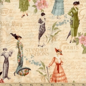 A Ladies' Diary Fashion Plates Cotton Fabric - Cream 1825-85546-147W