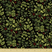A Peaceful Season Cotton Fabric - Holly Berry - Black