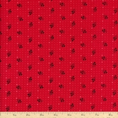 A Touch of Baltimore Tossed Sprigs Cotton Fabric - Red