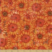 Abbey's Garden Cotton Fabric - Orange Sunflowers - Clearance