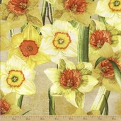 Abbey's Garden Cotton Fabric - Yellow Floral - Clearance