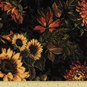 Abundance Autumn Bouquet Cotton Fabric - Black