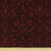 Abundance Autumn Damask Cotton Fabric - Burgundy