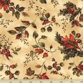 Abundance Floral Cotton Fabric - Ecru 543