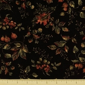 Abundance Oak Leaf Floral Cotton Fabric - Black