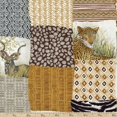 Africa Patchwork Cotton Fabric - Brown