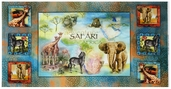 African Safari Animal Cotton Fabric Panel