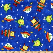 All About Boys Alien Robot Toss Cotton Fabric - Royal 22425-Y