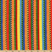 All About Boys Double Stripe Cotton Fabric - Orange/Red 22428-OR