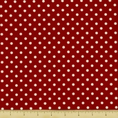 All About Coffee Polka Dot Cotton Fabric - Cranberry 60580-1