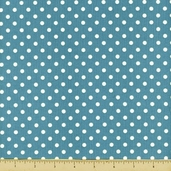 All About Coffee Polka Dot Cotton Fabric - Teal 60580-6