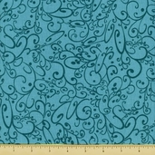 All About Coffee Swirls Cotton Fabric - Teal 60578-6 - CLEARANCE